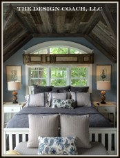 Bedroom - Custom Reclaimed Wood Ceiling Installation