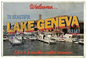 Lake Geneva Docks Postcard