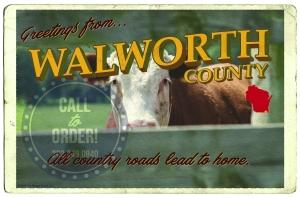 Walworth Serif Cow Postcard